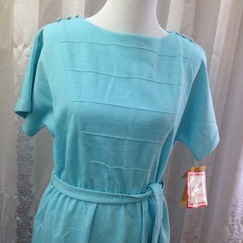 Vintage Dress Kevin Suart Petites Size 14 Polyester/Silk Blend Sea Green Short Sleeve Belted