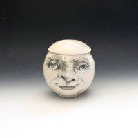 Man in the Moon Face Jar, Porcelain Trinket Jar, Candy Jar, lidded pot