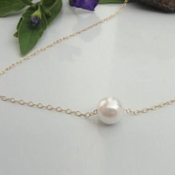 Sweet Pearl Pendant Necklace For Women (Color: Gold) With Thanksgiving&Christmas Gift Box=9980518406