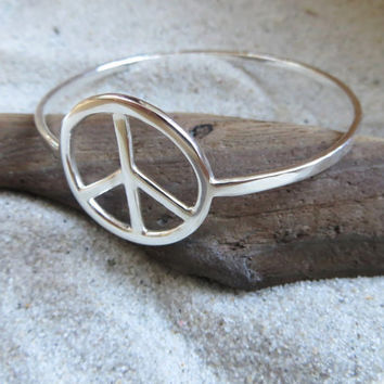 Sterling Silver Peace Sign Bangle Bracelet Handcrafted Friendship peace Jewelry