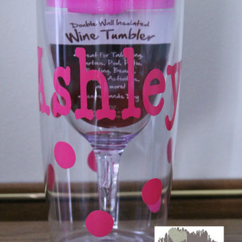 10oz Personalized Wine Tumbler with Lid - Name and Polka Dots