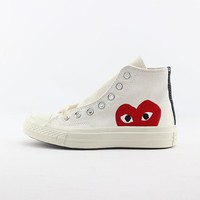 CDG Play x Converse Chuck Taylor 1970s High Top White Canvas Sneakers - Best Deal Online