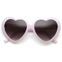 Cute Womens Pastel Color Heart Shape Oversize Sunglasses 8183