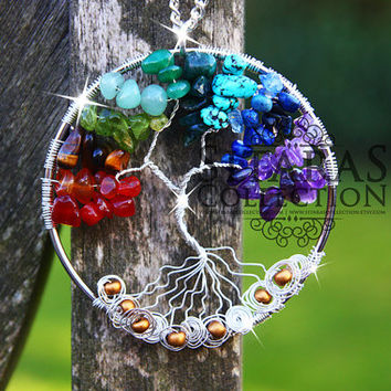 Handmade wirewrapped Amethyst Tree of life necklace Tree of life pendant Agate gemstones Peridot chip beads necklace Tiger eye necklace