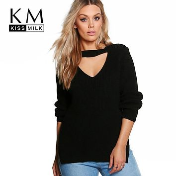 Kissmilk 2018 Big Size Women Clothing Casual Sexy Solid Hollow Out Split Slim Sweater Warm Plus Size Sweater 4XL 5XL 6XL