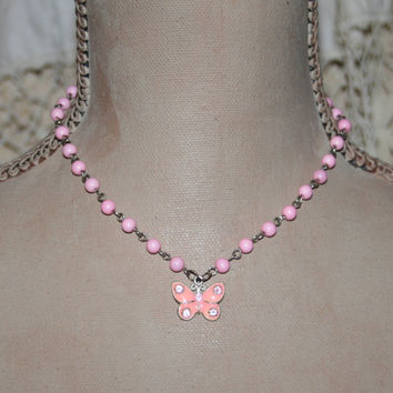 Pink Bead Necklace Butterfly Charm Necklace Spring Necklace Spring Jewelry Pink Necklace Pink Jewelry Butterfly Necklace Butterfly Jewelry