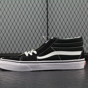 Vans SK8 Mid Fashion Canvas Flats Sneakers Sport Shoes Black