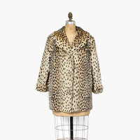 Vintage 60s Faux LEOPARD Jacket / 1960s Soft Faux Fur Spotted Rockabilly Cheetah Print Coat