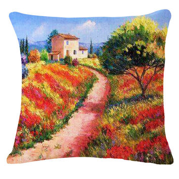 2015 Custom Flowers 3d Cushion Without Core Cotton Linen Decorative Pillows Home Decor Sofa Chair Decorate Cushions Throw Pillow