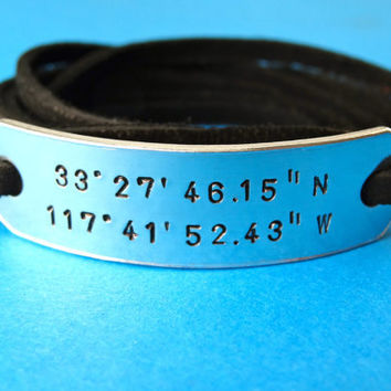 Coordinates Bracelet - Latitude Longitude - Personalized Custom Leather Wrap Bracelet