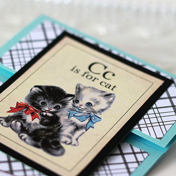 Handmade nostalgic Pet Sitting thank you card for cat, Shabby Chic retro alphabet flash card vintage kitty on brown craft paper spelling