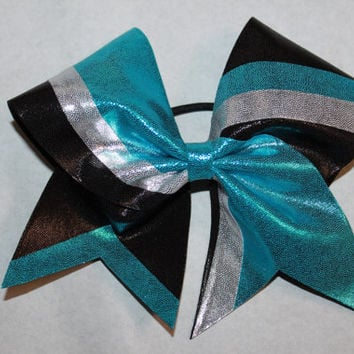 Striped blue, black and silver cheer bow