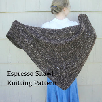 Espresso Shawl PDF Knitting Pattern, Easy Knit, Worsted Yarn, Prayer Shawl, Cozy Wrap, Garter Stitch Eyelets