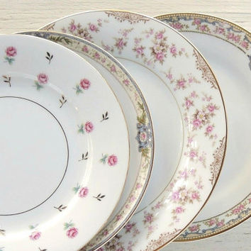 On Sale Set of 4  Mismatched Salad Plates, Tea Party for 4, Wedding, Cottage Chic, Vintage, Replacement China