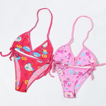 3-12 years Children Bikini Cute Animation Style Child Swimsuit Split Swimwear Bathing Suit for Kids Baby Girls Biquini BJ104
