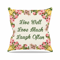 """NL Designs """"Live, Love, Laugh"""" Floral Typography Outdoor Throw Pillow"""