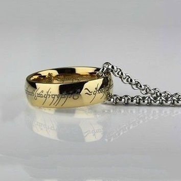 Lord of the Rings Stainless Steel The One Ring Bilbo's Hobbit Gold 8MM Width Ring & Chain (With Thanksgiving&Christmas Gift Box)= 5616998977