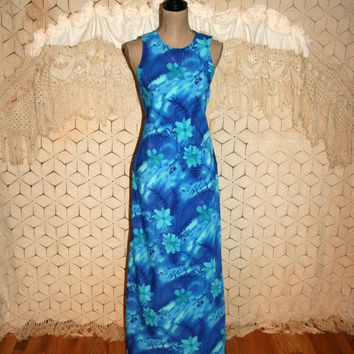 Blue Hawaiian Maxi Dress Beach Dress Luau Dress Summer Dress Small Sleeveless Long Dress 90s Vintage Maxi Dress Size 4 Dress Womens Clothing