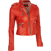 Black Rivet Cropped Lamb Moto Jacket - Outerwear - Clearance - Wilsons Leather
