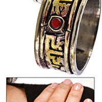 Om Mani Padme Hum Brass Spinning Ring