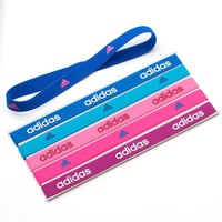 adidas 6-pk. Double Logo Active Headbands (Blue)