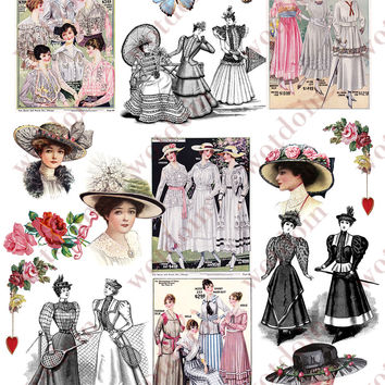 1900s Womans Fashion Printable Collage Sheet Gowns Feather Hats Dresses Color Black and White Digital Download 3 Full Sheets Vintage Images