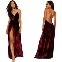 Wine Red Velvet Maxi Long Back Cross Bandage Dress Sexy Spaghetti Straps Club Wear Bodycon Dress