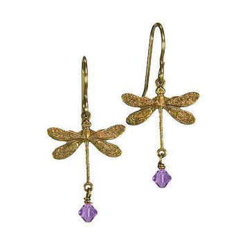 Dragonfly Earrings in Vintage Natural Brass with 4mm Lavender Crystal