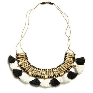 Crescent Statement Necklace with Tassels
