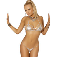 Lame bikini top and matching g-string Silver One Size