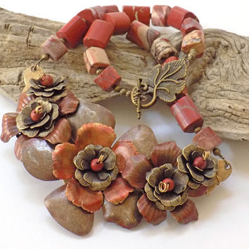 Statement Necklace, Flower Necklace, Gemstone Necklace, Red Jasper Jewelry, Handmade Necklace, Handcrafted Jewelry, Unique Necklace