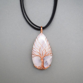 Tree Of Life Necklace, Wire Wrap Necklace, Tree Of Life Pendant, Wire Wrapping Stones, Cooper Jewelry, White Rainbow Moonstone