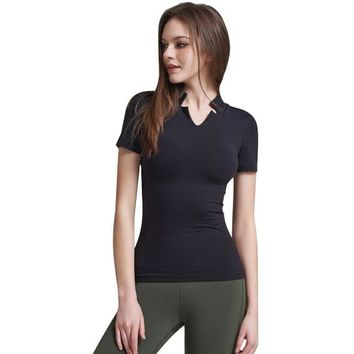 High Quality V Neck Padded T-shirt Female Sport Top Fitness Women Sports Wear Yoga Top Gym Workout Jerseys Women's Yoga Shirts