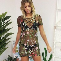Short Sleeve Summer Sea Casual Vacation Maxi Dress Embroidery See Through One Piece Dress [13536559130]