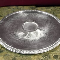 Round Silver Plated Hors d'oeuvres Tray, Chip & Dip Server, Veggie, Relish Silverplate by Leonard Towle Co.