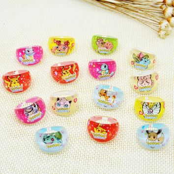 Accessories 50pcs  Go Acrylic kids Rings Team Mystic Valor Instinct Girl Baby anillo Game Souvenir Party GiftKawaii Pokemon go  AT_89_9