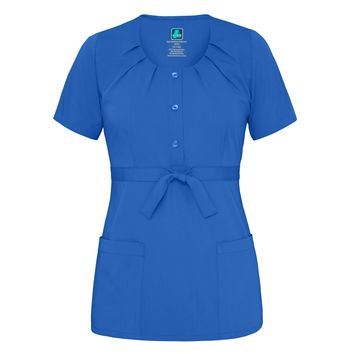 Scoop Neck Pleated Top (Royal Blue)