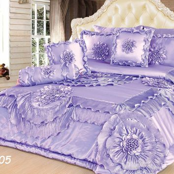 Tache 6 Piece Fancy Floral Faux Satin Sateen Solid Purple Lavender Field Comforter Quilt Set