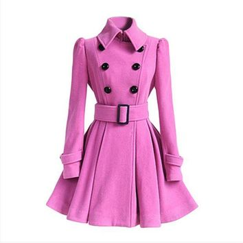 DCCKL72 Wool coat belt buckle coat