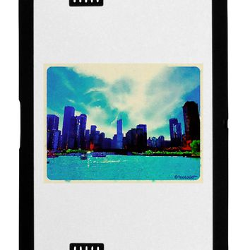 Chicago Skyline Watercolor Black Jazz Kindle Fire HD Cover by TooLoud
