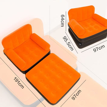 Flocking inflatable sofa bed casual recliner lazy sofa bed small apartment folding naive home sofa,living room bean bag armchair