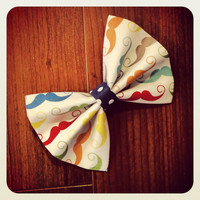 Hair Bow Vintage Inspired 1920s Mustache with Blue Polka Dots Hair Bow Clip Rockabilly Pin up Teen Woman