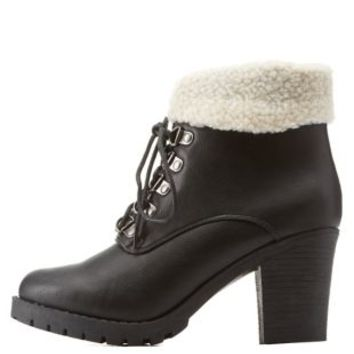 Black Shearling-Cuffed Block Heel Hiking Boots by Charlotte Russe