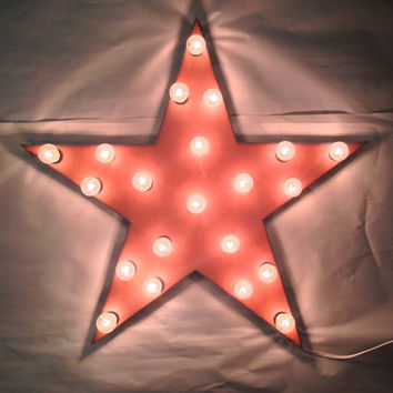 STAR Lighted Marquee Sign made of Rusted Recycled Metal Vintage Inspired