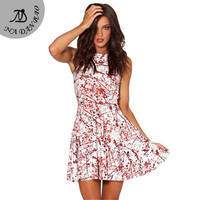 Winter  Dress Saias Femininas Bloods Digital Print  Pleated Dresses Sleeveless Reversible Skater Dress