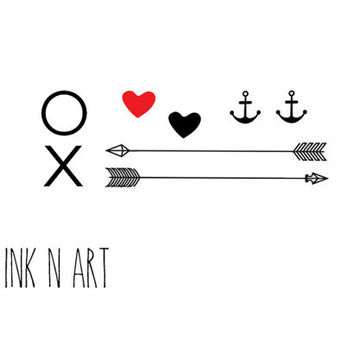 8pcs Set XO arrow tiny heart anchor - InknArt Temporary Tattoo Set - gift pack tattoo collection quote wrist neck ankle body