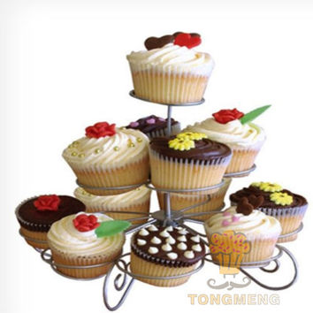 13 Count Metal Cupcake Dessert Stand with 3 Tiers - Great for Halloween - Thanksgiving - Christmas - 4th of July-Valentines Day