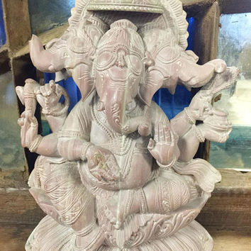 Vintage Handcarved Lord Ganesha Stone Statue Sculpture Yoga Room Decor Art