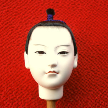 Japanese Doll Head - Man Doll - Hina Doll - Body Part - Porcelain Doll (D4-35)