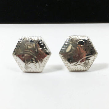 Sterling Silver Floral Stamped Pierced Earrings, Hexagon 925 Studs, Foliage Stamped Vintage Jewelry